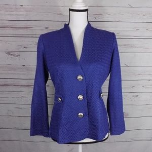 Misook PS fitted button up blazer EUC